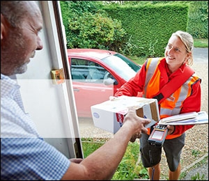 Postperson delivering mail