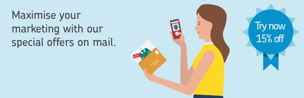 Illustration of woman using mailed special offer
