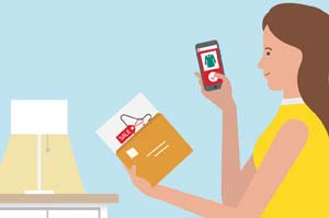 Illustration of customer holding personalised mail and looking for offer on a smartphone